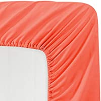 Luxe Bedding 100% 起毛マイクロファイバーソリッドカラーディープポケットフィットシーツ ホテル品質 しわ/色あせ/シミ/摩擦耐性 フル レッド