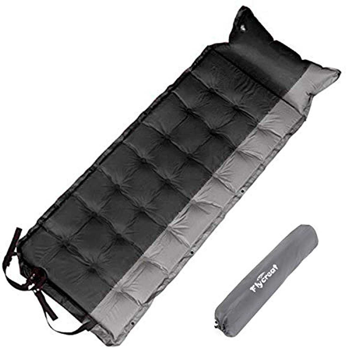 進化誘惑する冒険家Flycreatエアーマット キャンピングマット 自動膨張式 5cm厚さ1人用キャンプマット 折り畳み 枕付き 防水 コンパクト 連結可能 昼寝マット
