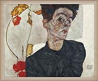 ポスター エゴン シーレ Portrait with Physalis 1912 額装品 ウッドベーシックフレーム(オフホワイト)