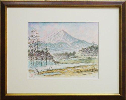 菊池信博 『新春の忍野富士』 リトグラフ(石版画)+手彩色