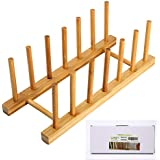 Bamboo Plate Rack for Cabinet with Gift Box, Kitchen Storage Holder Stand for Dish/Bowl/Pot Lid/Sheet Pans/Cutting Board by HTB (1 PCS)