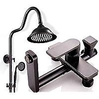 シャワーセット銅 - ブラックハンドヘルドウォールマウント調節式シャワー - 3つのアウトレットシャワーは柔軟性があり、家族やホテルに適しています。