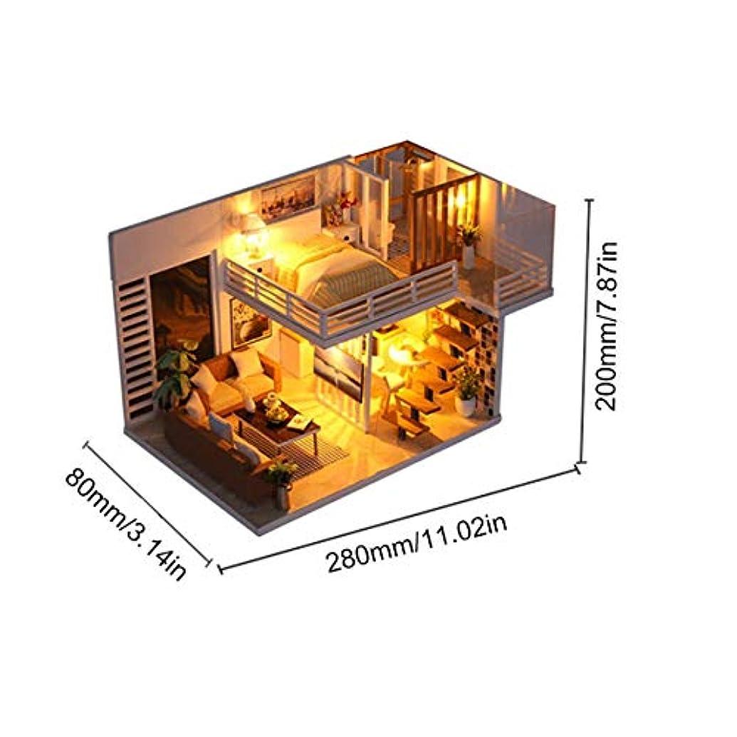 指定雑種隣人エレガントな木製家具diyハウスミニチュアボックスパズル組み立て3d miniaturasドールハウスキットおもちゃ子供のための誕生日プレゼント - マルチカラーミックス - 1サイズ