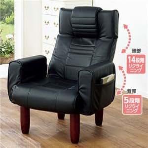 TVが見やすいシアターチェア(折りたたみリクライニングチェア) 合成皮革/木製 ハイバック ブラック(黒) ds-1429032