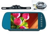 """Rear View Mirrorカメラsystem-7"""" LCD Reverseモニタ&カラー背面ビューのバックアップカメラ120°ビュー、赤外線ナイトビジョン、ライセンスプレートマウント、フリーボーナス32ft RCA拡張ケーブル。–by YanTech USA"""