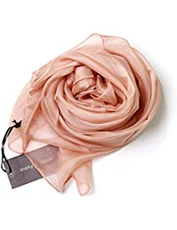 シルク 100% 大判 スカーフ ストール 【選べるサイズ カラーバリエーション】 無地 絹 UV 防寒 シフォン 天然素材 [Instyle Japan]