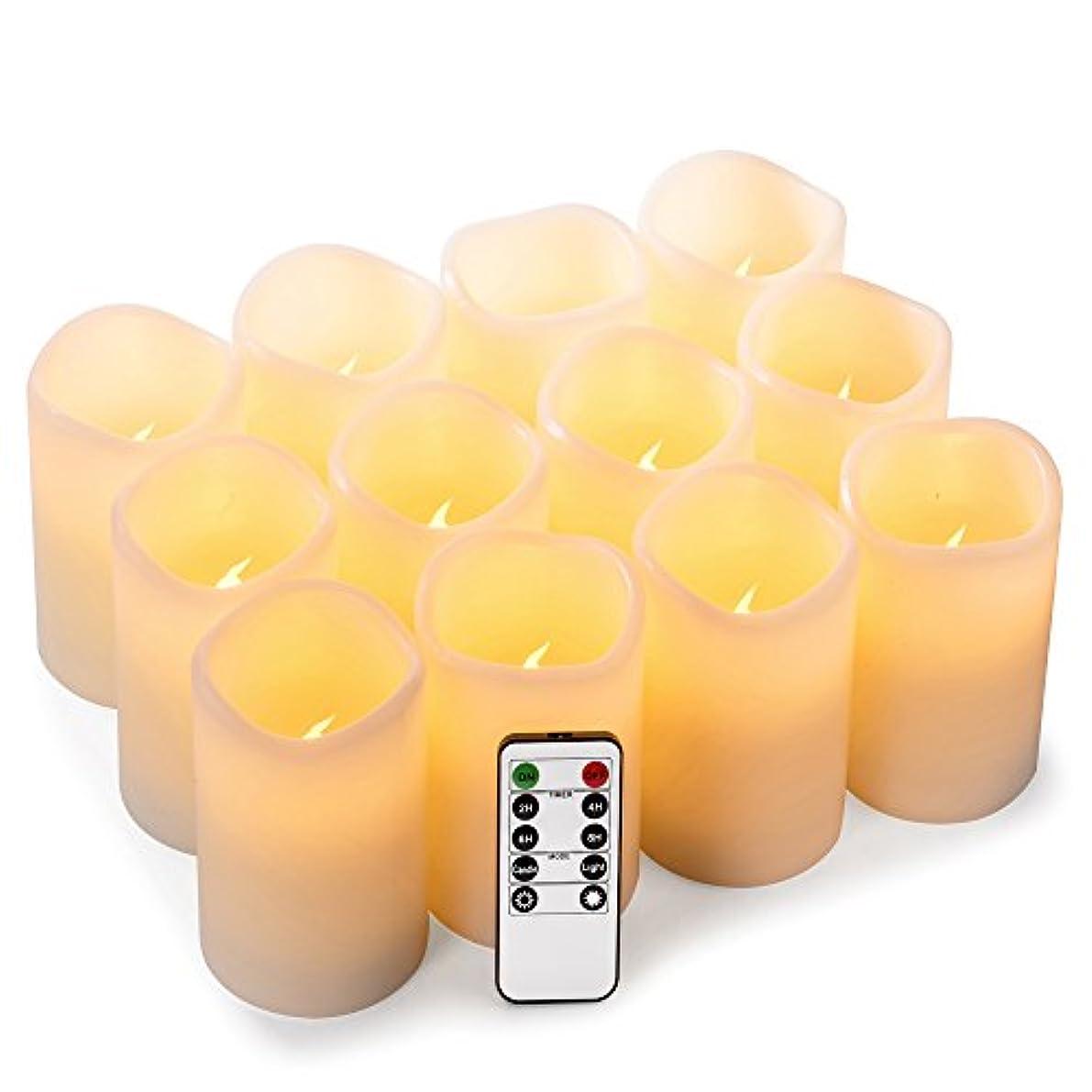 鎖ジャングルメカニックenpornkフレイムレスキャンドル電池式LED Pillar RealワックスちらつきElectric無香キャンドルwithリモートコントロールサイクリング24時間タイマー、アイボリー色、12セット ホワイト