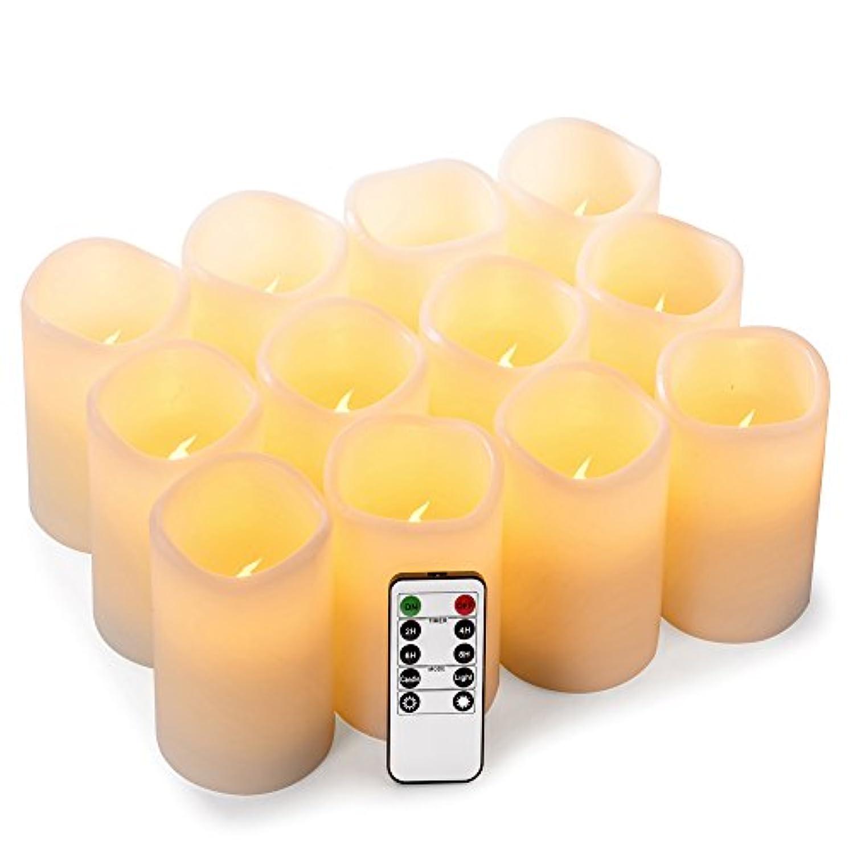 区別盲目個人enpornkフレイムレスキャンドル電池式LED Pillar RealワックスちらつきElectric無香キャンドルwithリモートコントロールサイクリング24時間タイマー、アイボリー色、12セット ホワイト