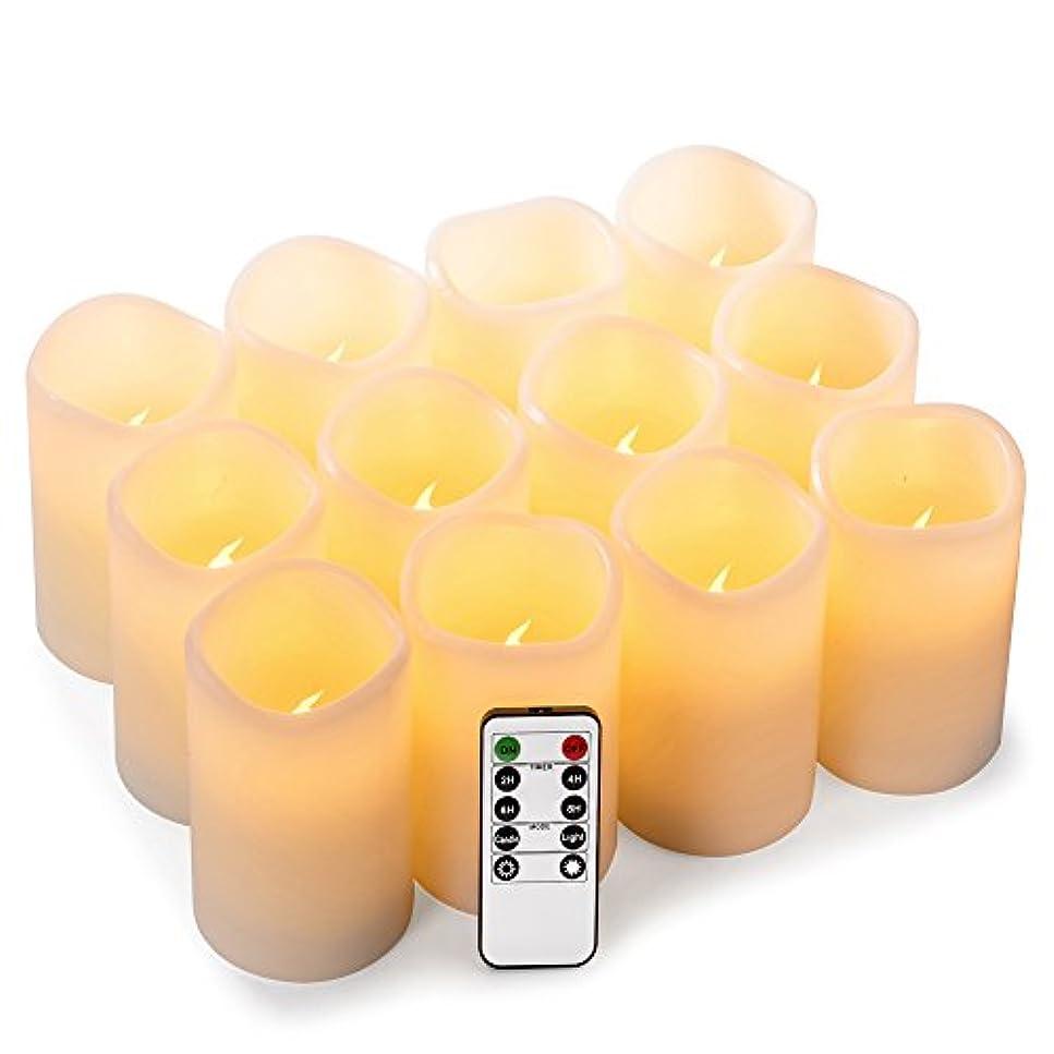 enpornkフレイムレスキャンドル電池式LED Pillar RealワックスちらつきElectric無香キャンドルwithリモートコントロールサイクリング24時間タイマー、アイボリー色、12セット ホワイト