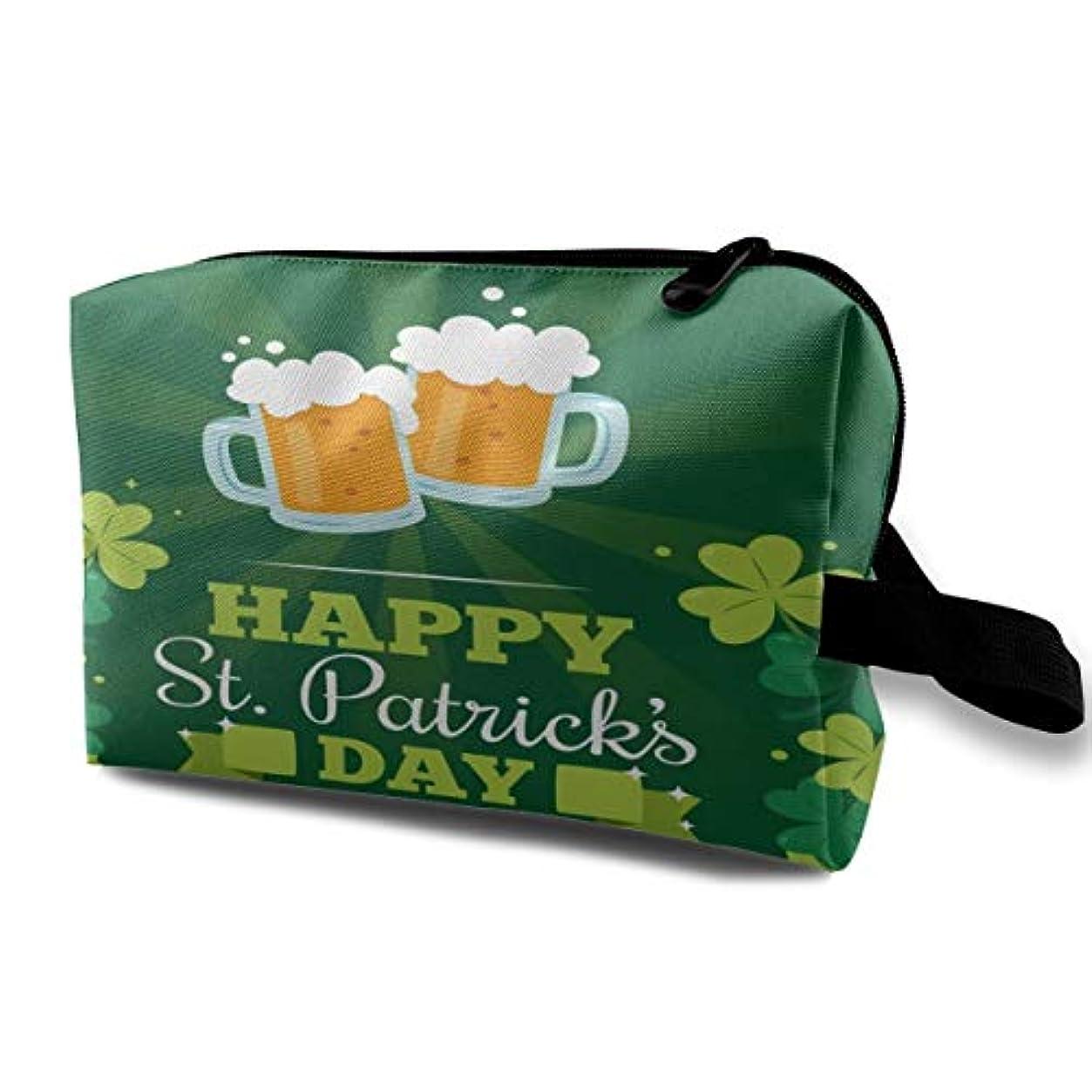 ハッチ懸念高潔なHappy St.Patrick's Day 01 収納ポーチ 化粧ポーチ 大容量 軽量 耐久性 ハンドル付持ち運び便利。入れ 自宅?出張?旅行?アウトドア撮影などに対応。メンズ レディース トラベルグッズ