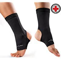 足首サポーター, サポーター 足首, 着圧引き締め ドクター アースライティス (ドクター関節炎) - 医師達により開発、銅含有 | 関節の痛みを和らげ、また動き回れる | 色:黒 - 1枚入り - さまざまなサイズ