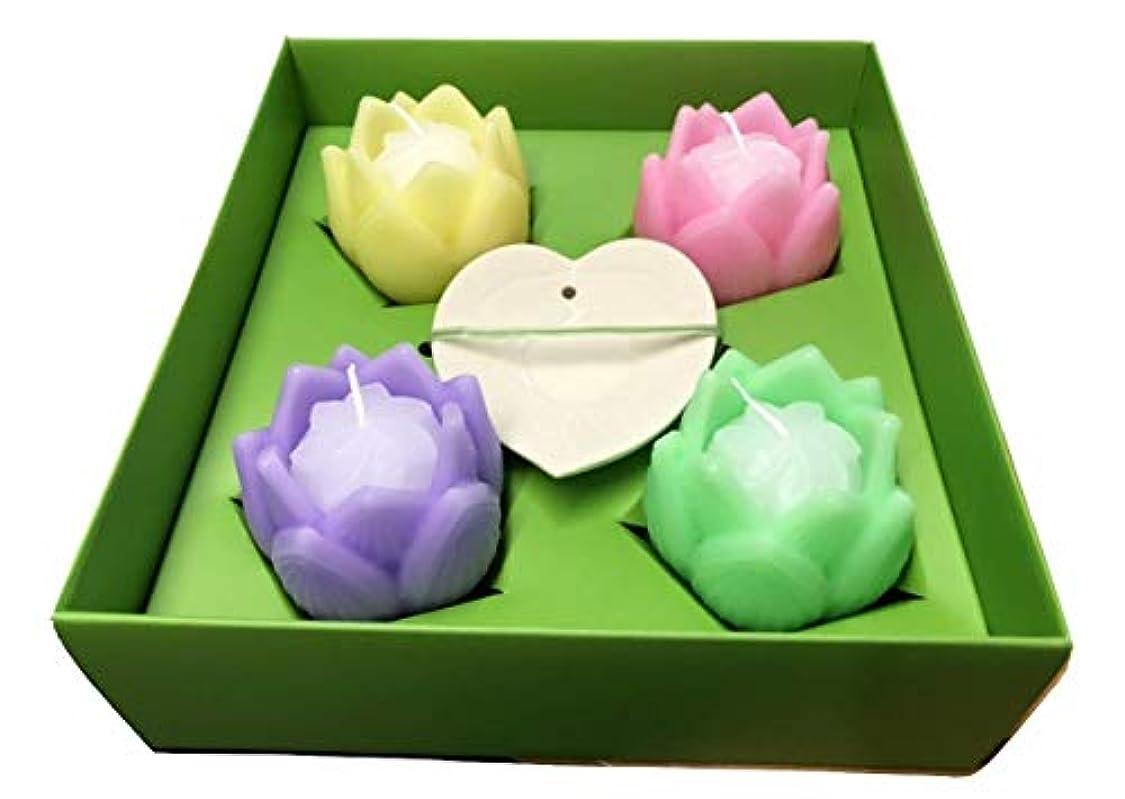 関連付ける指導する伴う花あかり???フルール/蓮ローソク/ピンク/緑/黄色/紫/皿つき