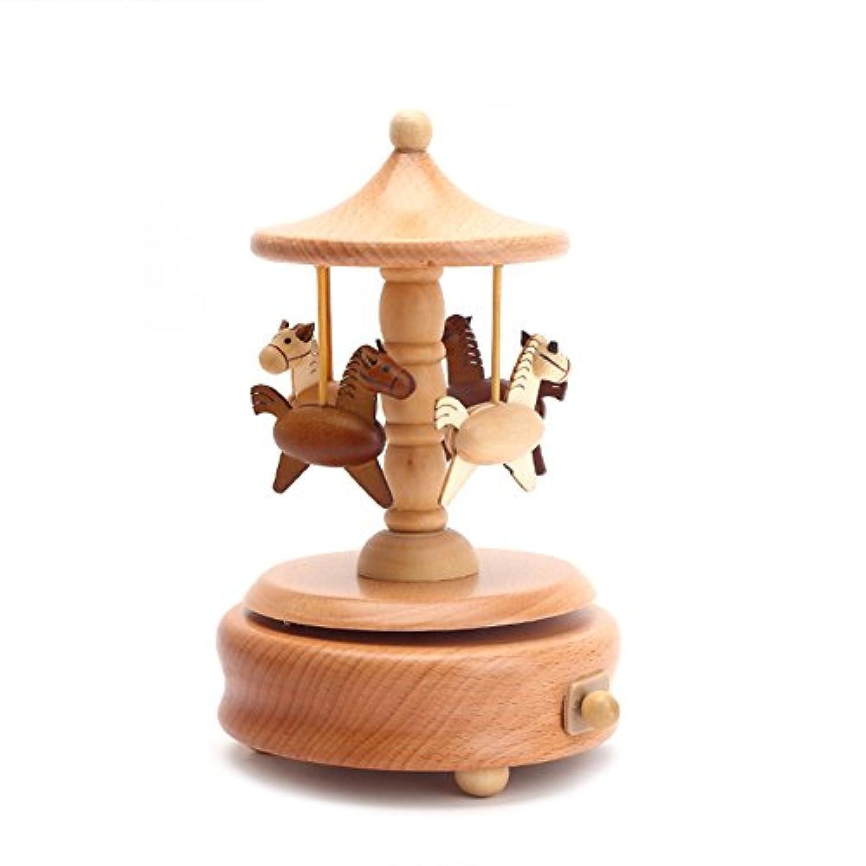 Wholehot オルゴール 木製 ミュージカル ボックス(ラピュタ) カルーセル オルゴール おもちゃ クリスマス 誕生日 バレンタイン 新築祝いプレゼント ロマンティックな雰囲気 お部屋 インテリア雑貨 置物