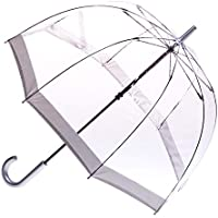 CLIFTON UMBRELLAS Silver Trim Clear PVC Birdcage Windproof Umbrella, Silver, One Size