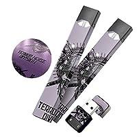 【SHIODOKI】Juul シール ジュール専用 スカル スキンシール 2.5D印刷ステッカー 全面保護カバー フィルム 電子タバコ 2枚セット 再剥離 3M素材 (09)