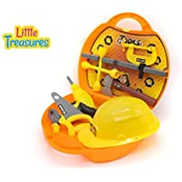 Deluxe Tool Box from Little Treasures - Complete with Helmet, handsaw, axe, Drill with bits, Pliers, Vice, lug wrench, screws, nuts, and Wooden piece -play set for children over 36 months. [並行輸入品]