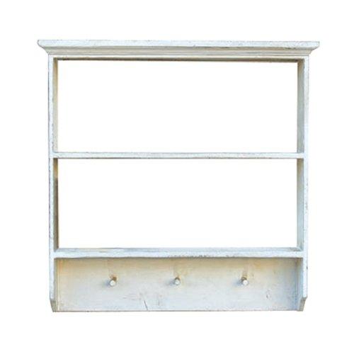 RoomClip商品情報 - 北欧風 R.C.2段ウォールラック ホワイト 壁掛け式 ウッドシェルフ 木製棚 アンティーク調 カフェスタイル