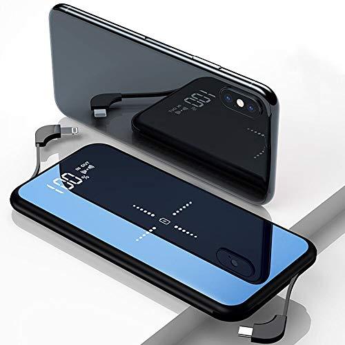 モバイルバッテリー 大容量 10000mAh 急速充電 軽量 薄型 無線充電器 ワイヤレス充電 Qi 持ち運び ケーブル内蔵 ライトニング/microUSB/type-Cコネクタ付 USBポート スマホ 充電器 4台同時充電 LCD残量表示 iPad Pro / iPhone X / XS MAX / XS / XR / iPhone8 / 8Plus / Galaxy Note9 / S9 / S9+ / S8 / S8 Plus / S7 edge / Sony Xperia XZ3 / XZ2 Premium 各種他対応 (黒)