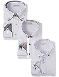 [ドレスコード101] ワイシャツ 長袖3枚セット (シーンで選べる6パターン 形態安定生地) SHIRT-Z3SET1 メンズ スタイリッシュセット 日本 L (日本サイズL相当)