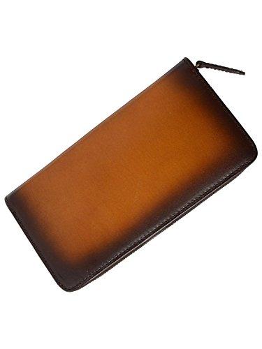 (アルベルト マイスター) 唯一無二の革製品を作る イタリア伝統のバケッタ製法の皮革で仕立て上げた メンズ ラウンドファスナー (ブラウン)
