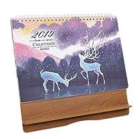 木製フレーム月間カレンダーアカデミックデスクカレンダー2019デスクトップスケジューラー-A09