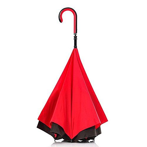 【Carry saKASA (キャリーサカサ) City Model 】逆折り式傘 逆さまの傘 逆さ傘 濡れない 長傘 Teflon認証 撥水コーティング (レッド/ブラック)