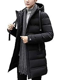中綿コート メンズ アウター 冬 厚手 ロング フード付き 無地 通勤 通学 S~XXL 3色選べ