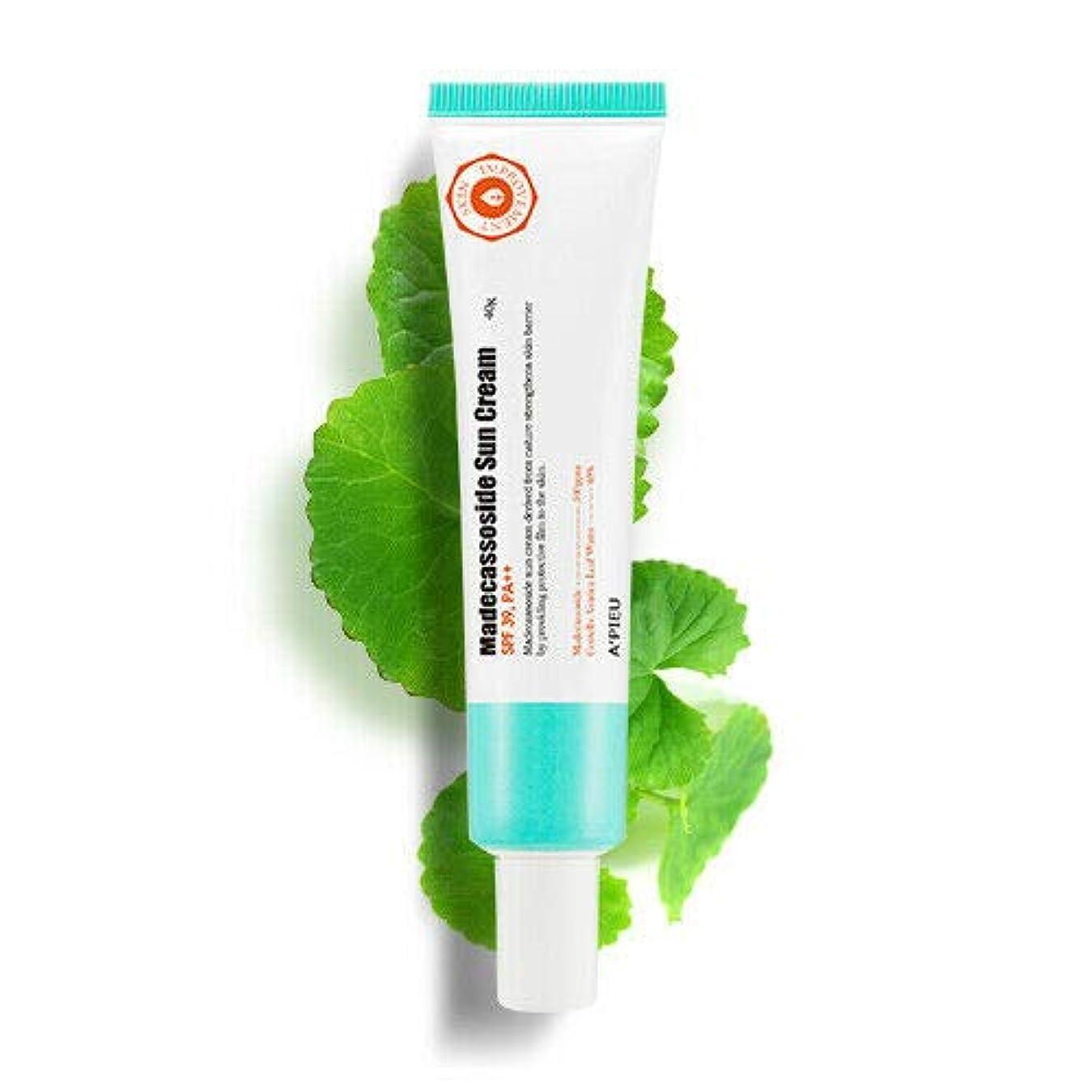 情緒的実験をする核A'PIEU オピュ マデカソサイド サン クリーム 40g,SPF39/PA++ Madecassoside Sun Cream APIEU 韓国日焼け止め