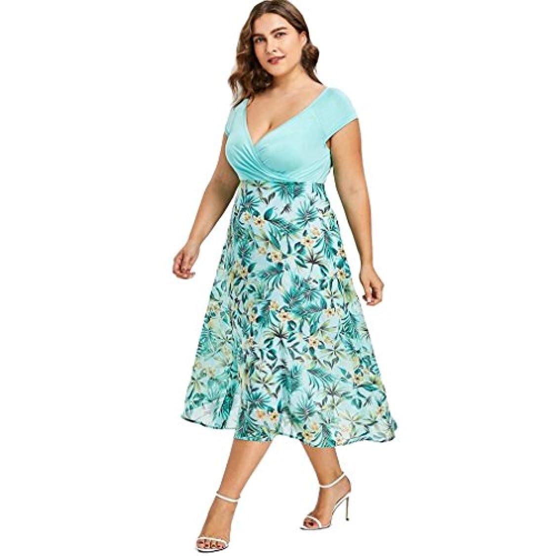 性差別噴火インドSakuraBest Women V Neck Wrap Chiffon Short Sleeve Midi Prom Dress Plus Size