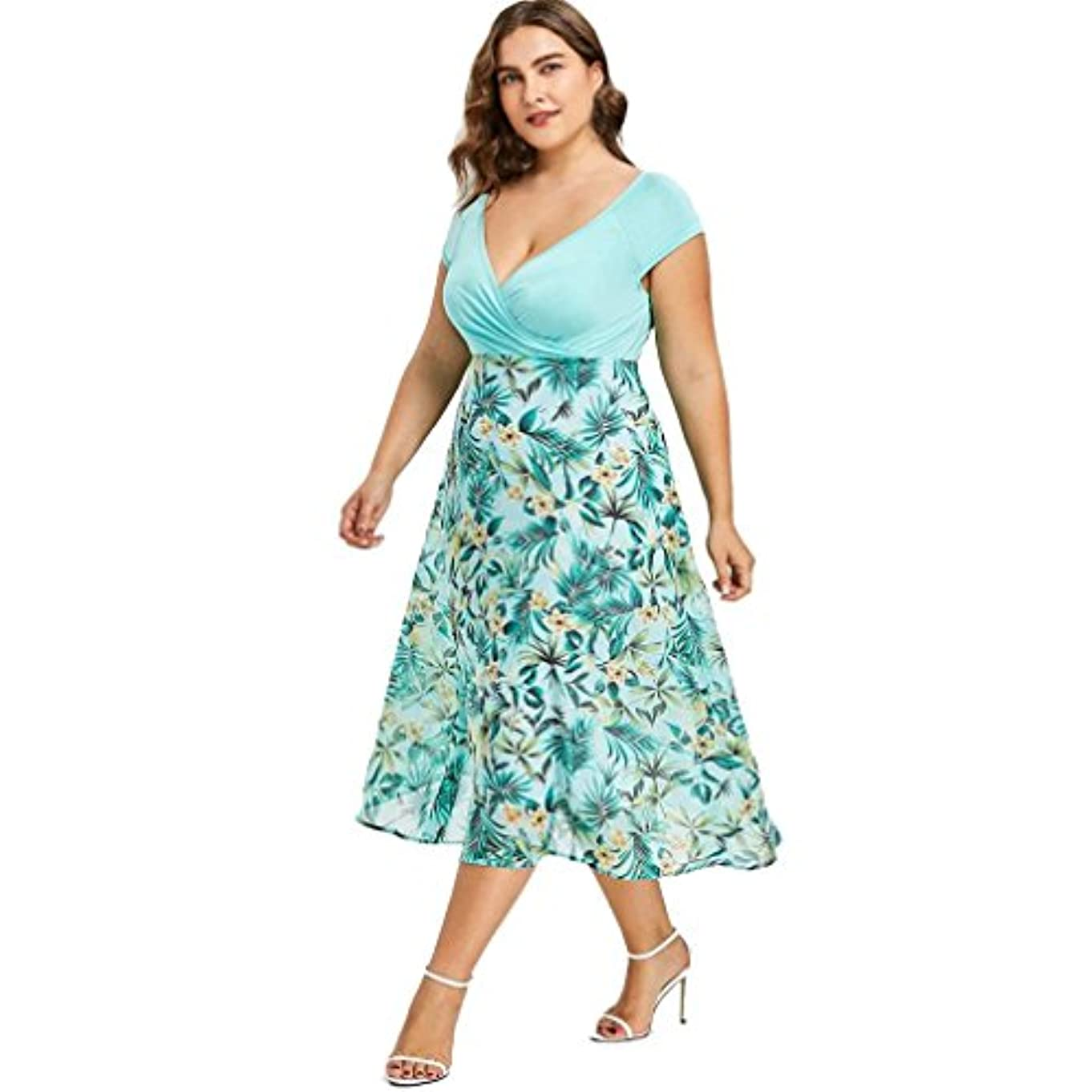 アンデス山脈名門アボートSakuraBest Women V Neck Wrap Chiffon Short Sleeve Midi Prom Dress Plus Size