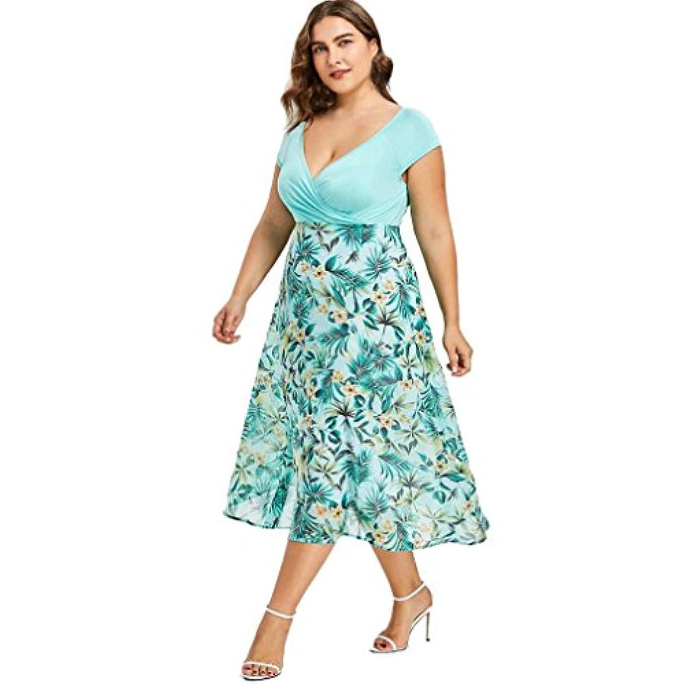 呼吸希少性枝SakuraBest Women V Neck Wrap Chiffon Short Sleeve Midi Prom Dress Plus Size