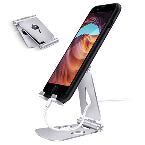AKEIE スマホスタンド アルミ 270度角度調整可能 「4~10インチ対応」 充電スタンド iPhone/Androidに対応 完全折り畳み式 携帯スタンド 卓上 iPad/Samsung/Galaxy/Sony/Nexus対応 滑り止め付き(シルバー)