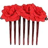 1st market プレミアム品質シミュレーション花花嫁の髪櫛頭飾りヘアピンクリップ櫛スタイリングアクセサリー、赤