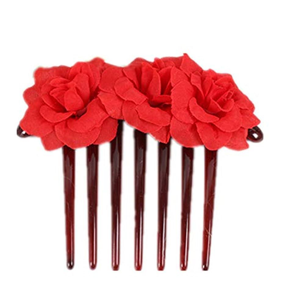 請求良心最大化する1st market プレミアム品質シミュレーション花花嫁の髪櫛頭飾りヘアピンクリップ櫛スタイリングアクセサリー、赤