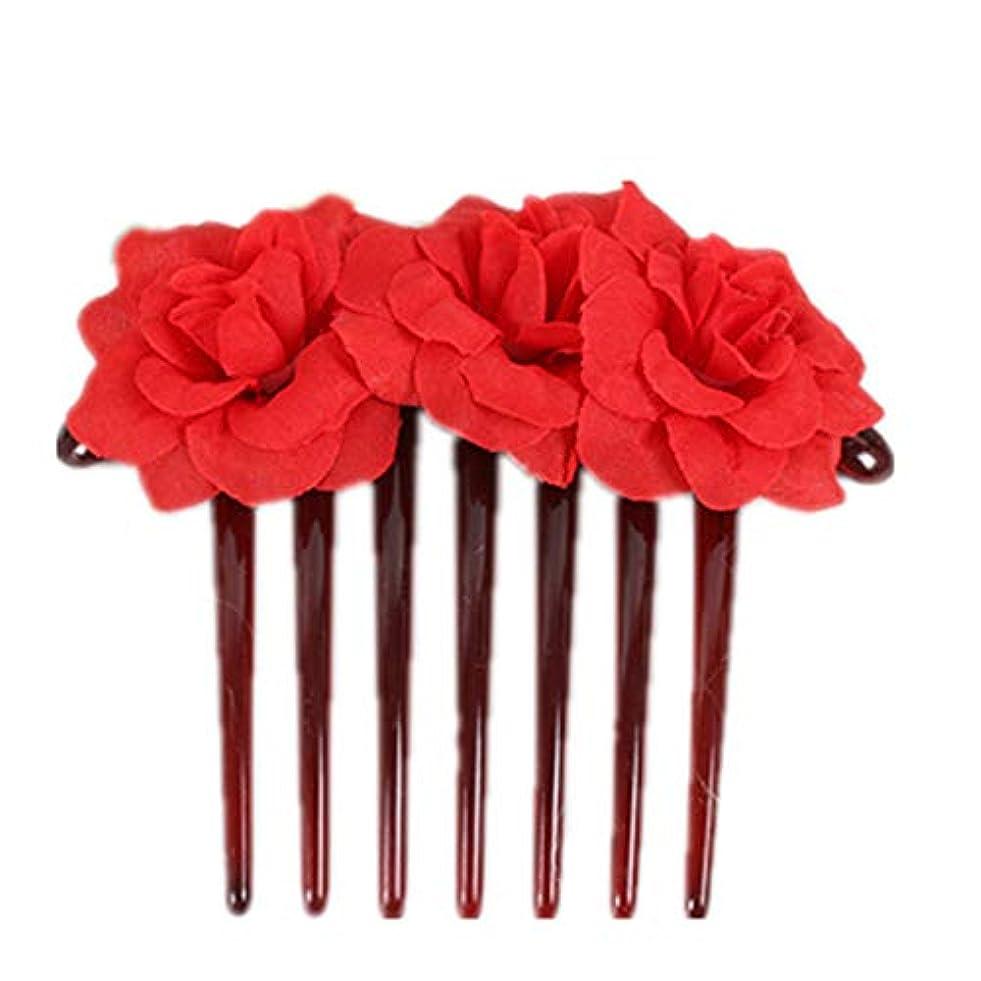 二次瞑想的ファントム1st market プレミアム品質シミュレーション花花嫁の髪櫛頭飾りヘアピンクリップ櫛スタイリングアクセサリー、赤