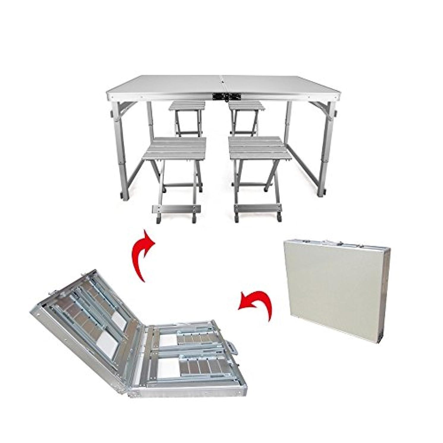 オリエンテーション名前マインドフルBBQ キャンプ 釣り用アウトドアテーブル·チェアセット(1テーブル4チェア)コンパクト可能 パラソル穴付け