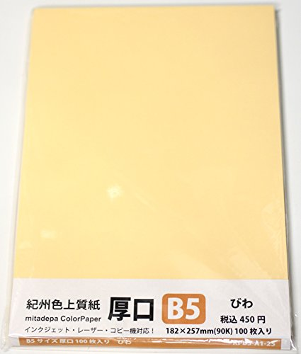 mitadepa ColorPaper 紀州色上質紙 厚口(90k)・B5判100枚パック びわ