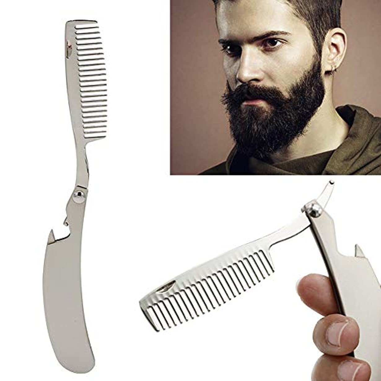 めまいが発行ランチRabugoo ヘアコーム男性専用のステンレス鋼折りたたみ櫛ミニポケット髭ケアツール