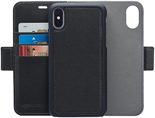 Amazonベーシック iPhone X 取り外し自由合皮ウォレット一体型...
