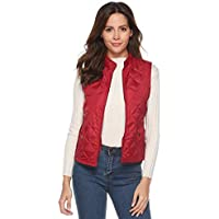 Ausexy Women's Stand Collar Lightweight Padded Zip Vest Quilted Gilet Sleeveless Winter Jacke Thick Warm Waistcoat White