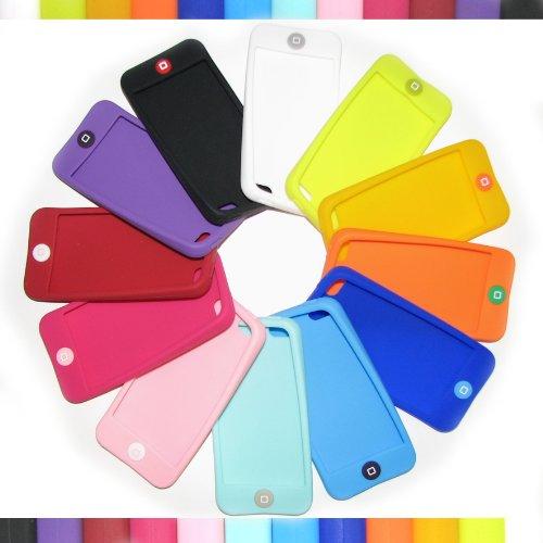 iPhone5 やわらかシリコンカバー+液晶保護フィルター、コネクタキャップ2種類 ライムイエロー