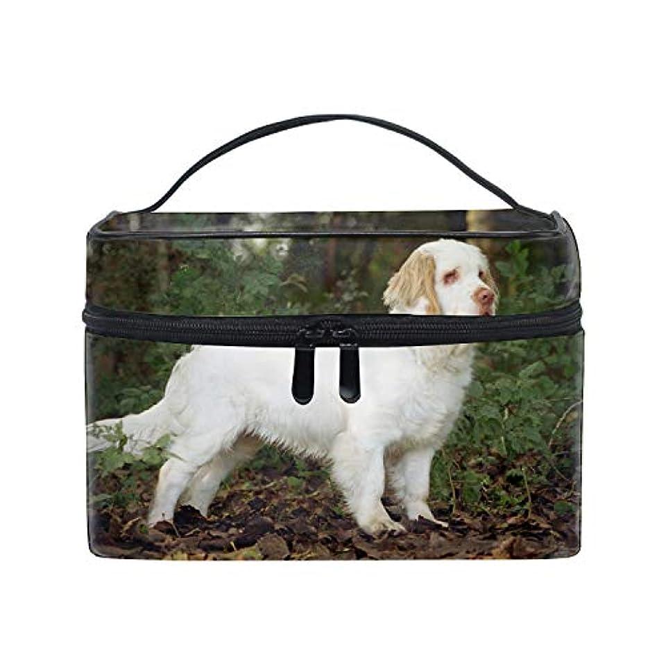 リード環境鼓舞するクランバースパニエルの森の白い犬化粧ポーチ トラベルポーチ 収納ポーチ 旅行ポーチ 小物入れ マルチポーチ かばん 防水 旅行