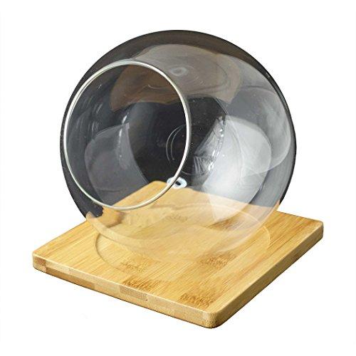 テラリウム プランター ガラス 製 球形 ボール 植木鉢 ガーデニング フラワーポット 多肉植物 寄せ植え 鉢 おしゃれ 竹製ベース付き
