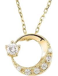 [ジュエリーアイ] ムーンネックレス 月 モチーフ イエローゴールドK18 ダイヤモンド ムーンペンダント 18金