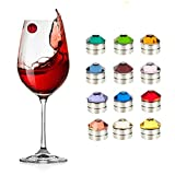 Set of 12 Swarovski Crystal Magnetic Wine Glass Charms that Work on Stemless Glasses Drink Markers