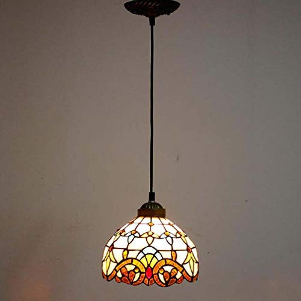 余裕がある成熟した組み合わせティファニースタイル1ライトミニペンダント照明、ヴィンテージシーリングライト吊り下げランプステンドグラスシェード(5.5