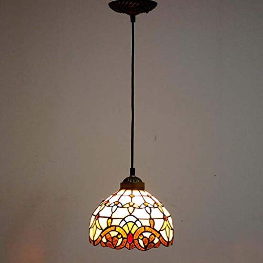 巡礼者砦入浴ティファニースタイル1ライトミニペンダント照明、ヴィンテージシーリングライト吊り下げランプステンドグラスシェード(5.5