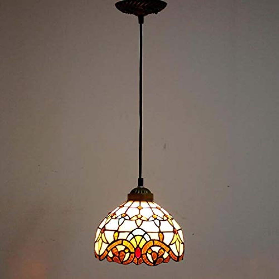 開拓者週末感謝ティファニースタイル1ライトミニペンダント照明、ヴィンテージシーリングライト吊り下げランプステンドグラスシェード(5.5