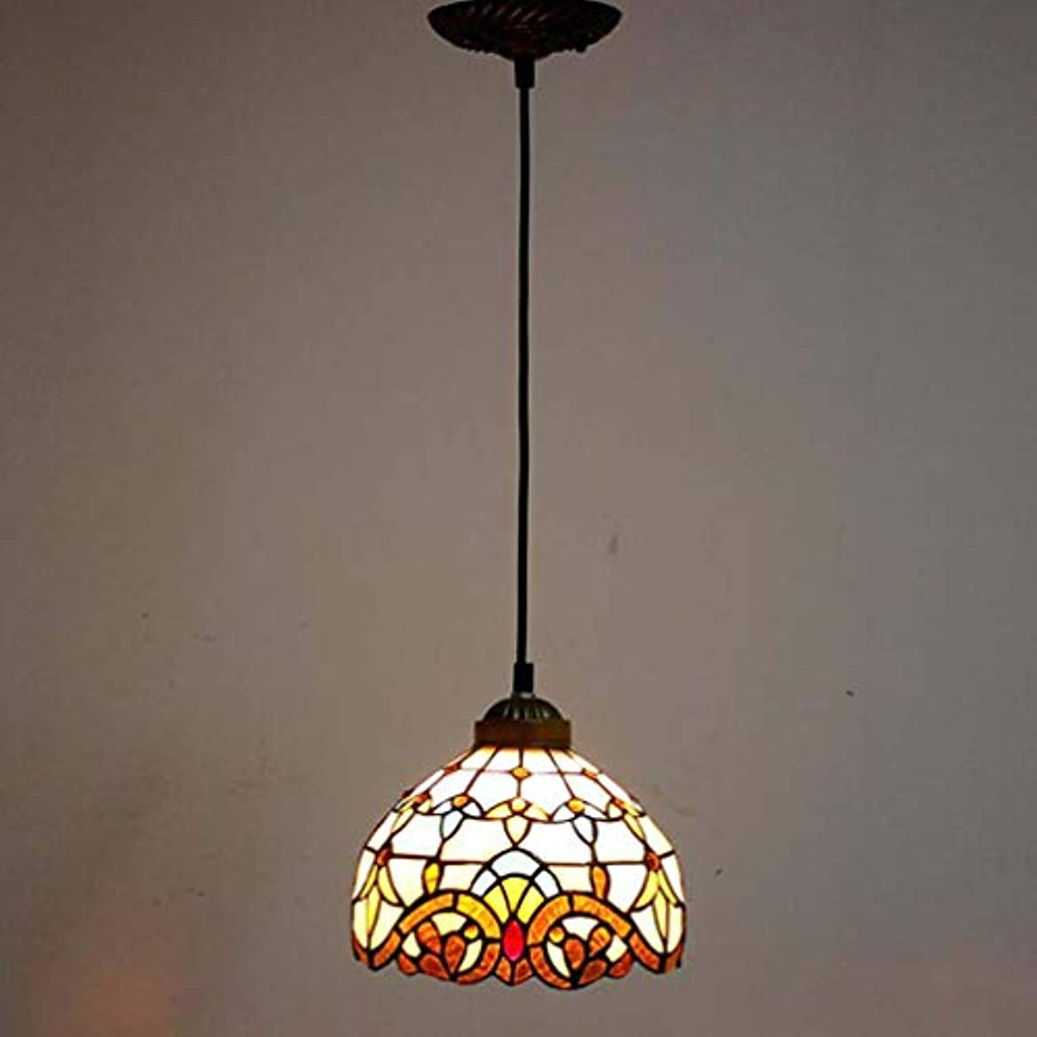 ピカリング無駄にピッチティファニースタイル1ライトミニペンダント照明、ヴィンテージシーリングライト吊り下げランプステンドグラスシェード(5.5