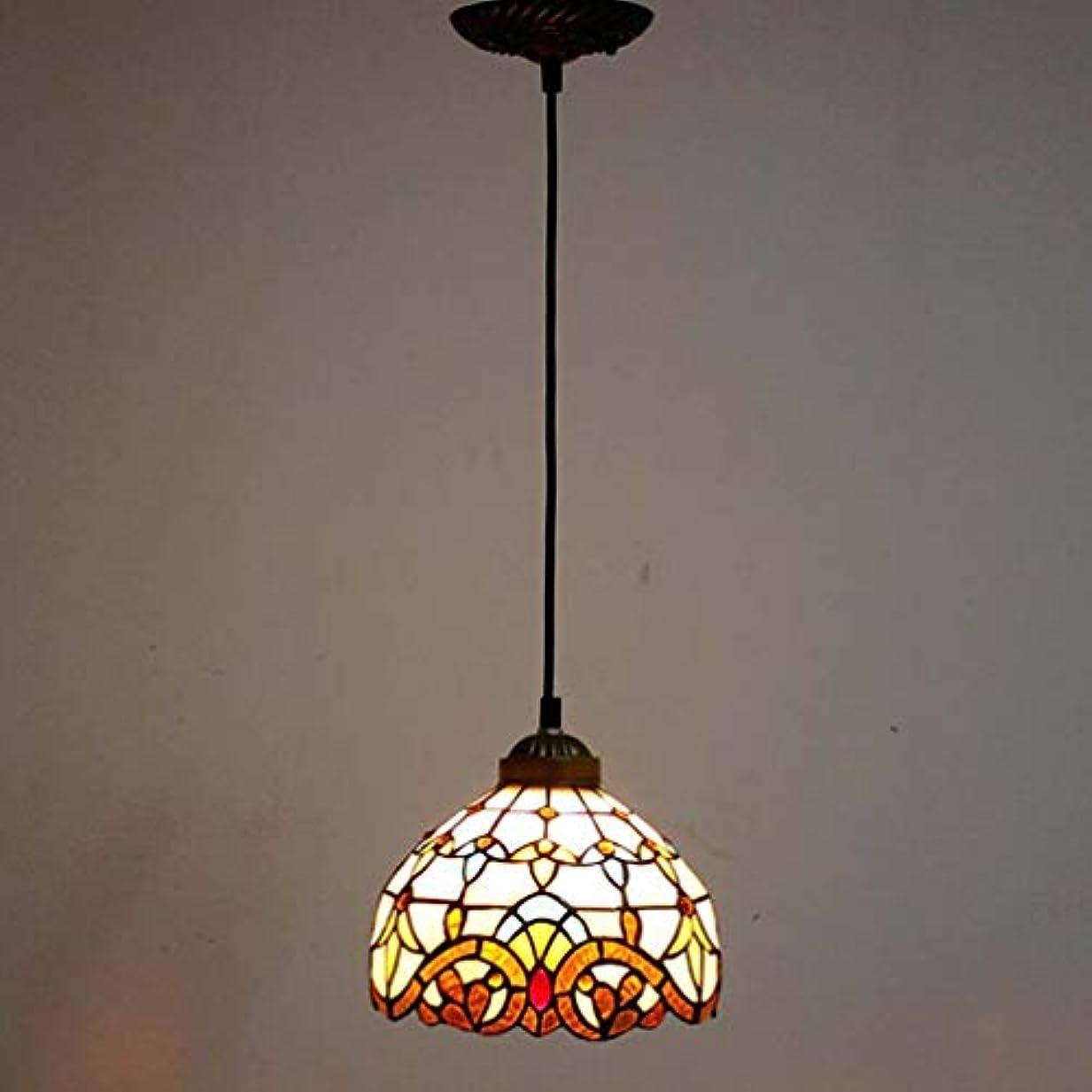 ウォーターフロント栄光のあたたかいティファニースタイル1ライトミニペンダント照明、ヴィンテージシーリングライト吊り下げランプステンドグラスシェード(5.5